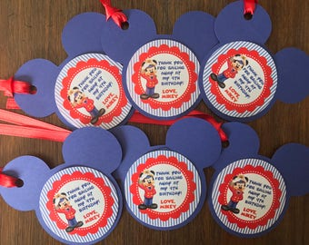 12 Personalized Printed Nautical Sailor Mickey Mouse Inspired Birthday Party Favor Tags