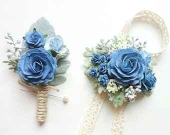 Dusty Blue Boutonniere and Corsage, Blue Wedding, Prom Corsage and Boutonniere Set, Rose Wrist Corsage, Rose Boutonniere, Slate Blue Corsage