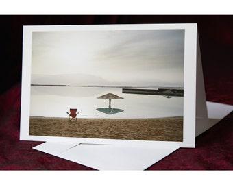 Dead Sea Beach - Folded Greeting Card