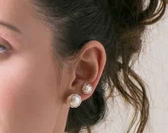 PEARL -Bridesmaids pearls , Pearl earrings studs , SILVER Pearl studs , Pearl post earrings , Large post earrings , Bridesmaids gift