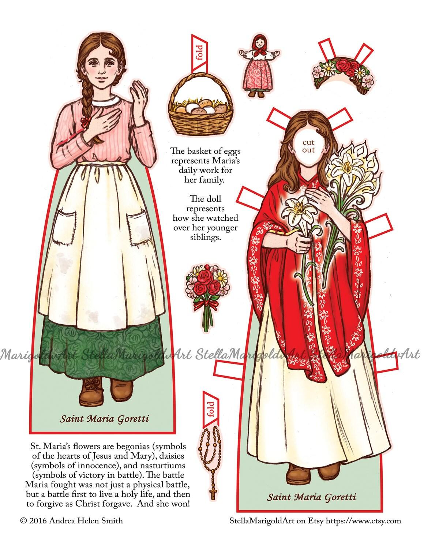 Saint Maria Goretti Paper Doll Color and BnW