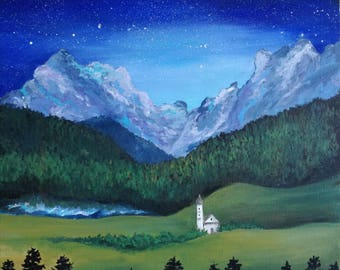 Starry Night picture, night landscape, Homedecor, painting on canvas, mountains, nature, original painting