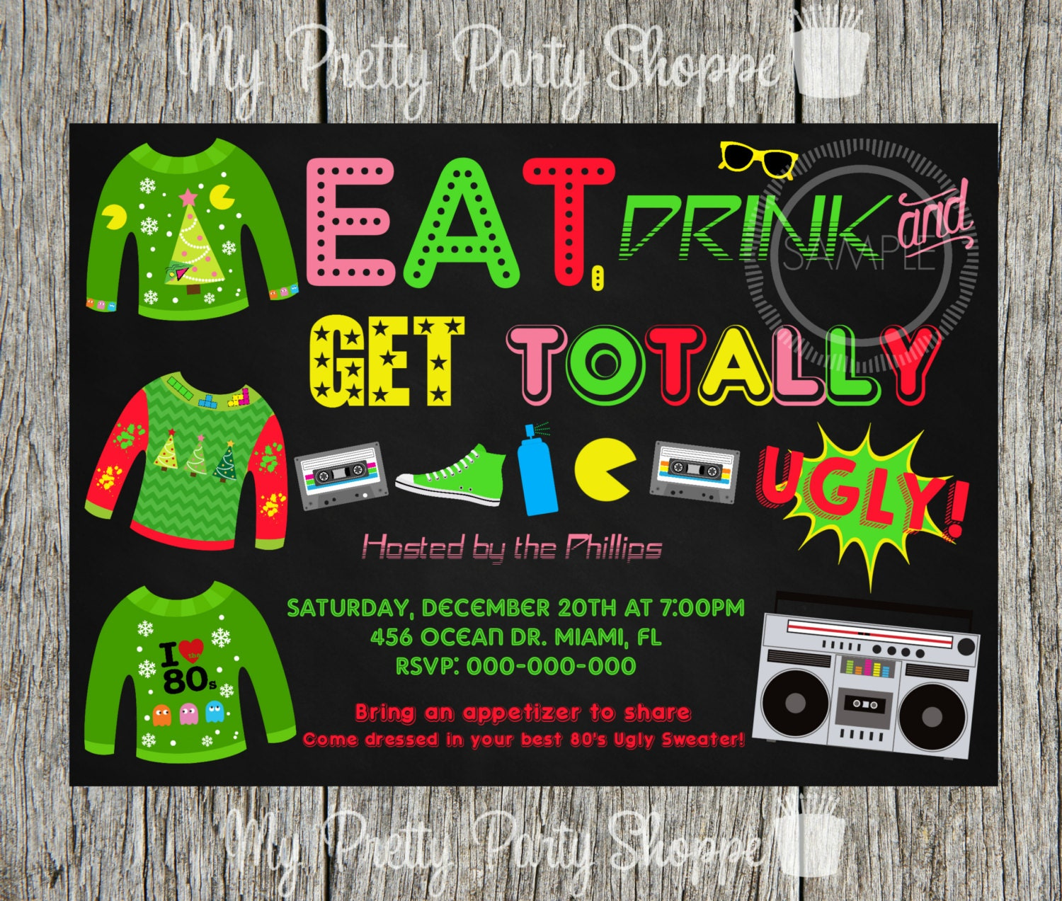 80\'s Christmas / Holiday Ugly Sweater Party Invitation