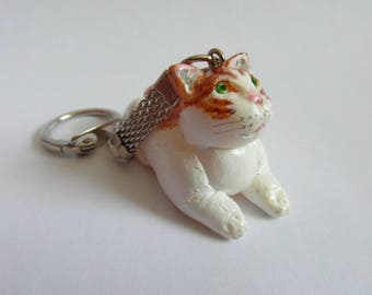 Keychain - big red and white - cat hand molded of cold porcelain