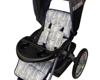 Gray Arrow Stroller Liner-Reversible to Gray Minky