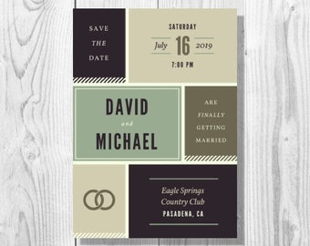 Neutral Earthy Boxes Gay Wedding Invitation - Printable