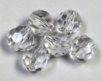 Vintage LUCITE BEADS Faceted Colorless 14mm pkg4 res188