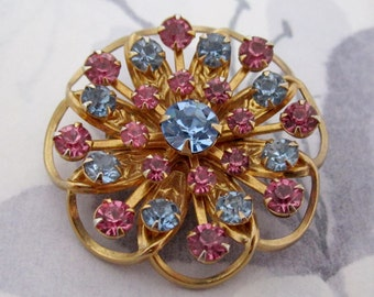vintage prong set pastel sapphire blue and pink machine cut crystal rhinestone flower brooch -j5609