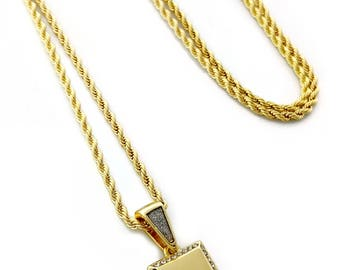 """Gold Bar Mini Pendant Necklace with 24"""" Rope Chain"""