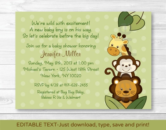 Jungle Animal Baby Shower Invitation Jungle Animal Baby