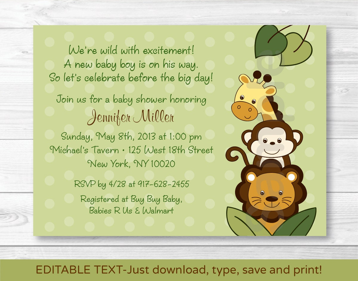 Jungle Animal Baby Shower Invitation / Jungle Animal Baby