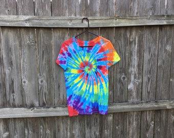 Adult large rainbow tie dyed tshirt