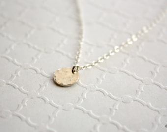 Silver Disk Necklace, Hammered Disc Necklace, Minimal Necklace, Minimalist Jewelry