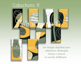 Digital images for rectangle cabochons abstract art