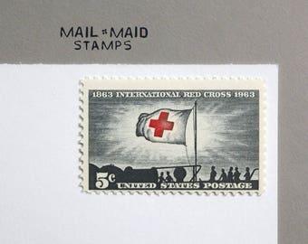 International Red Cross || Set of 10 unused vintage postage stamps