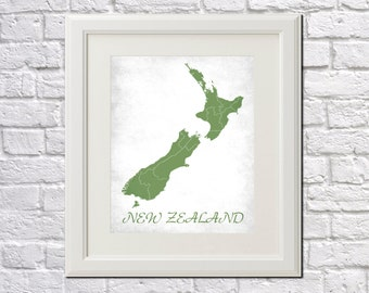 New Zealand Map Print Map of New Zealand Country Map Poster New Zealand Gift Home Decor Wall Art
