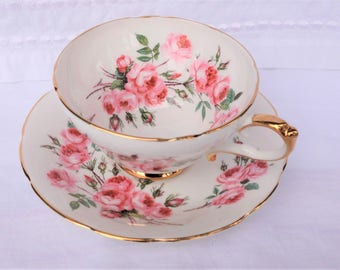 Sutherland Staffordshire Pink Roses Cup and Saucer