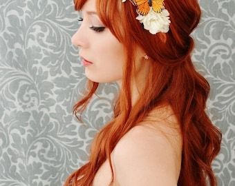 Butterfly floral crown, white flower headband, whimsical wedding head piece, hair accessory - Monarch