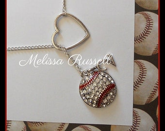 SALE - Baseball Lariat Necklace w/ Rhinestones, Heart & Number, handmade jewelry, pendant, birthday, christmas, gifts for her, sale, mom