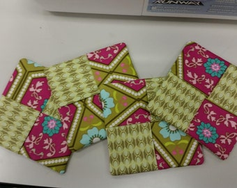 Pink and Green Fabric Coasters Set of 4