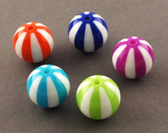 Beach Ball Acrylic Bead Mix - 19mm - Set of 10 - #ACR332