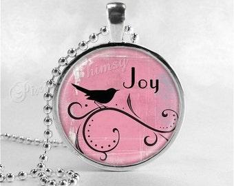 JOY Necklace, Bird Necklacle, Inspirational Word Necklace, Inspirational Jewelry, Joy Pendant, Glass Photo Art Pendant Necklace