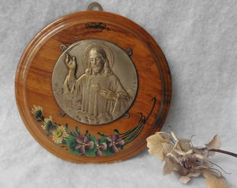 French Wood Frame Medal Sacred Heart Jesus Christ Dropsy Vichy Souvenir, France, Plaque, folk Art, Religious, Catholic, Reliquary, Icon