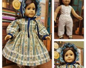 Town Dress circa 1864 with Undergarments - Fits American Girl Doll Addy Walker
