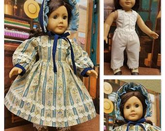 Robe de ville vers 1864 avec sous-vêtements - convient à American Girl Doll Addy Walker
