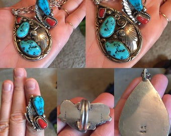 Turquoise and coral necklace and ring