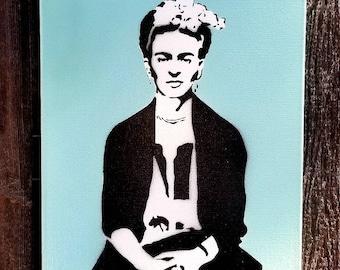 Frida Kahlo Mixed Media Graffiti Art Painting on Canvas Original Art on Home Decor Pop Art Gallery Pop Culture