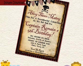 Pirate Invitation • Pirate Birthday Invite • Old Map • Skull and Bones • Pool Beach Party • Captain • Editable • Red black white • 031A