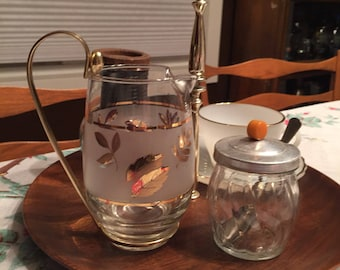 1960's Libbey Small Glass Pitcher Gold Autumn Leaf