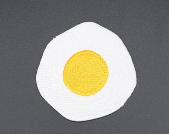 Fried Egg Embroidered Patch - Iron On Patch