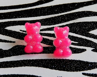 Hot Pink Gummy Bear Earrings, Neon Resin Studs, Candy Posts, Kawaii Mini Food Jewelry