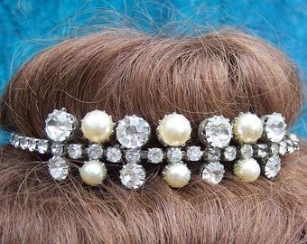 Rhinestone faux pearl tiara mid century hair accessory prom bridal wedding headdress headpiece