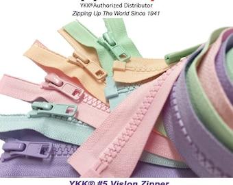 5 Assorted Colors Sport YKK® #5 Vislon Jacket Zipper Medium Weight Molded Plastic - Separating - Pick Your Theme