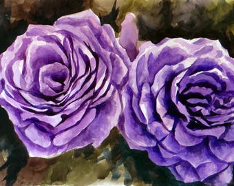 Roses 4  Original painting made by hand with watercolors
