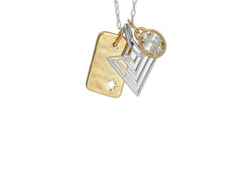 Sterling silver stacking necklace with star disc pendant with Art Deco and jewel charms on a 18 inch sterling silver chain