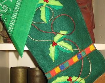 Handmade dark green felt cowboy boot, Christmas stocking.