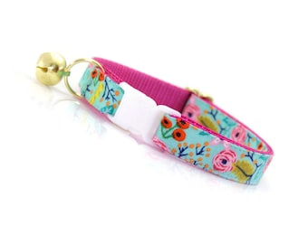 "Turquoise Cat Collar - ""Clarabelle"" - Breakaway Mint Cat Collar / Floral Cat Collar / Robin's Egg Cat Collar / Cat & Dog Sizes"