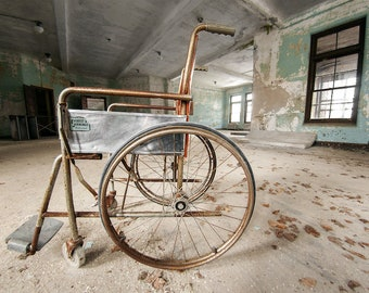 Rusty Wheelchair found in an Abandoned Hospital - Digital Photography Fine Art Print - Urbex Urban Exploration Abandoned - Wall Art - 8x12