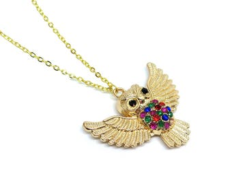 "Owl Gold Necklace - 18"" long"