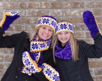 Purple and Gold Snowflake Scarf