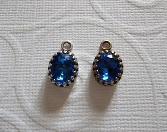 10X8mm Sapphire Blue Charms - Czech Glass Gems - Your Choice Settings - Qty 2