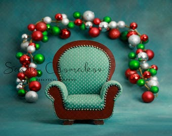 Christmas backdrop   sitter toddler  boy or girl  digital background greens and blue armchair