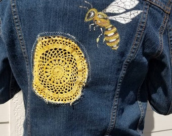 Hand painted Altered Levis Jean Jacket Bee and Vintage Crochet Honeycomb Design