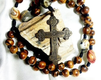 Vietnam Sandalwood and Natural Crazy Agate Nugget Rosary