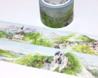 Fairy Tale Castle of Europe washi tape 5Mx 3cm fairytale palace blue sky Green hills deutschland scenes landscape Masking sticker wide tape