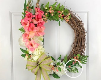 Spring Wreath, Pink Wreath, Peony Wreath, Summer Wreath, Year Round Wreath, Front Door Wreath, Wreath Street Floral, Grapevine Wreath